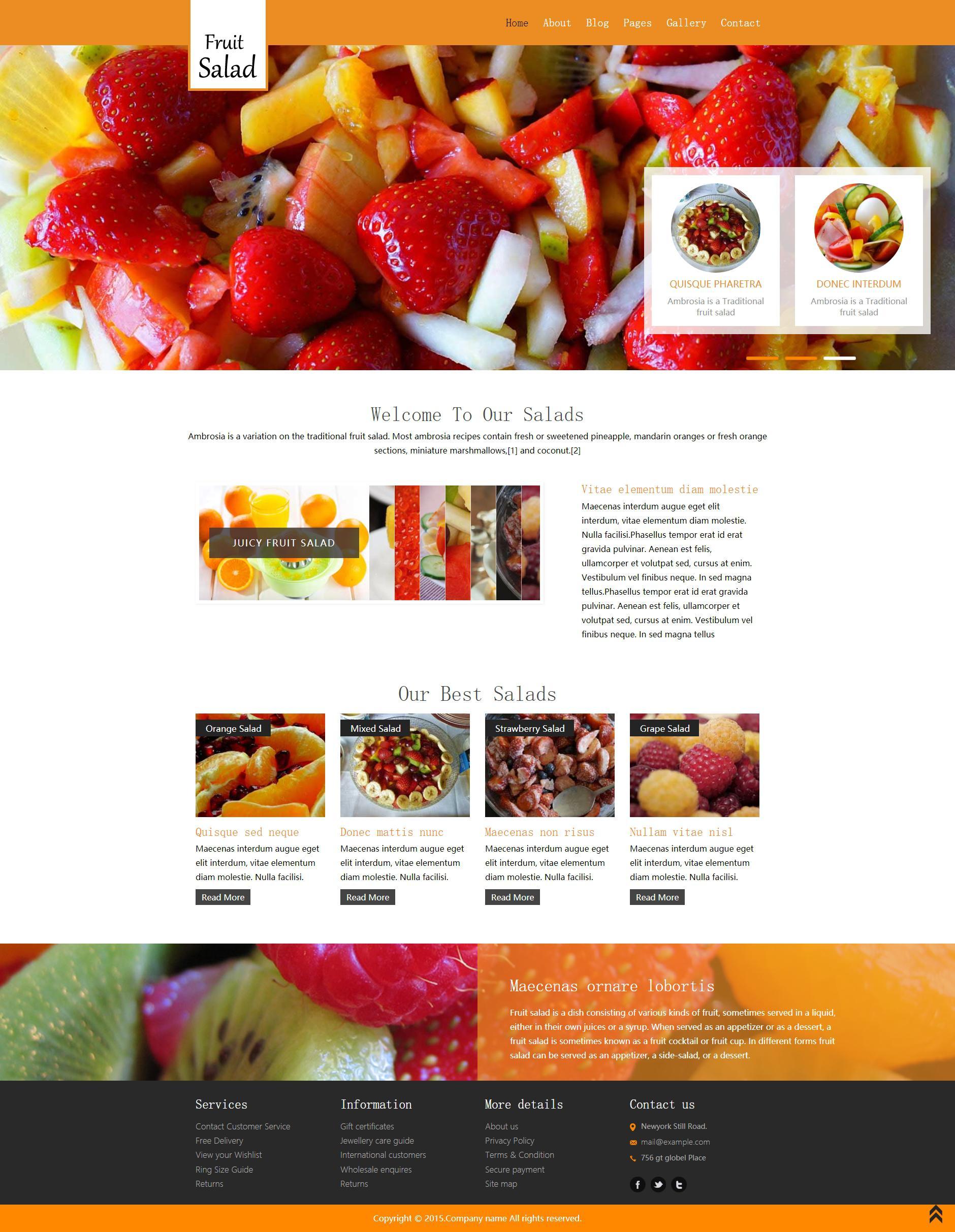 橙色的水果甜品店网页静态html模板