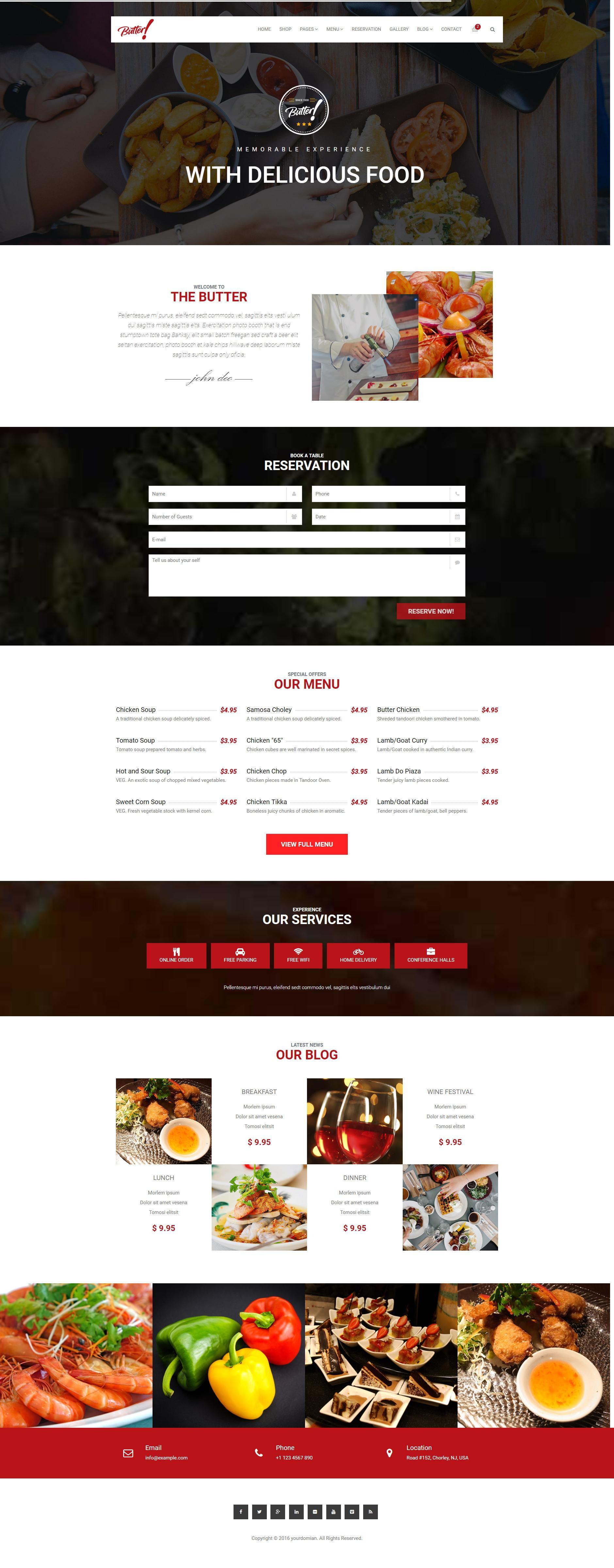 红色宽屏的餐饮美食行业网站html模板