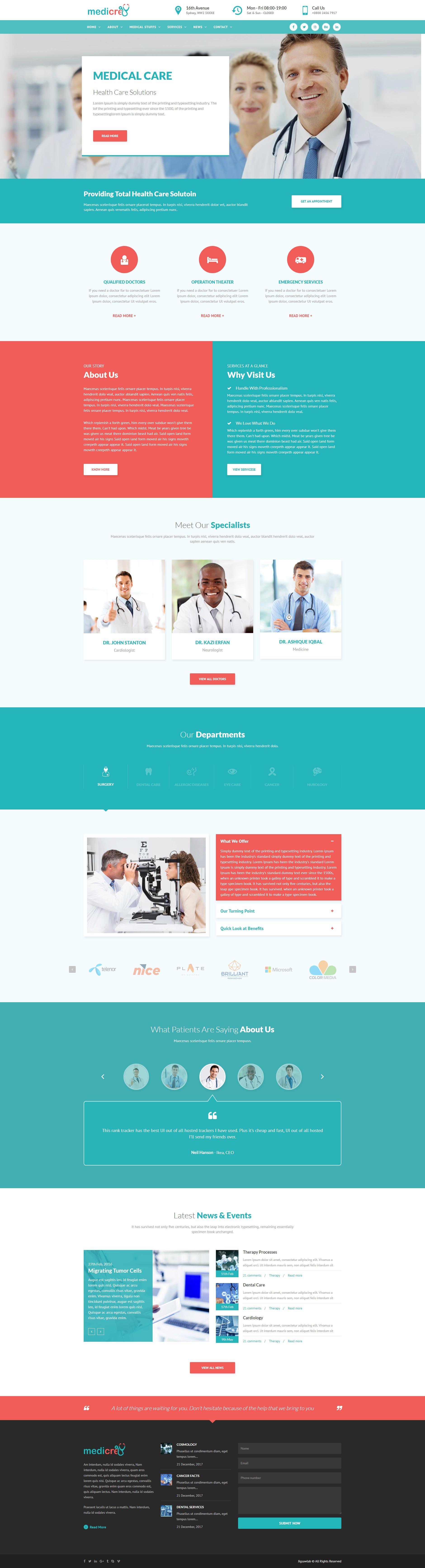 绿色的医院医疗健康行业网站html模板