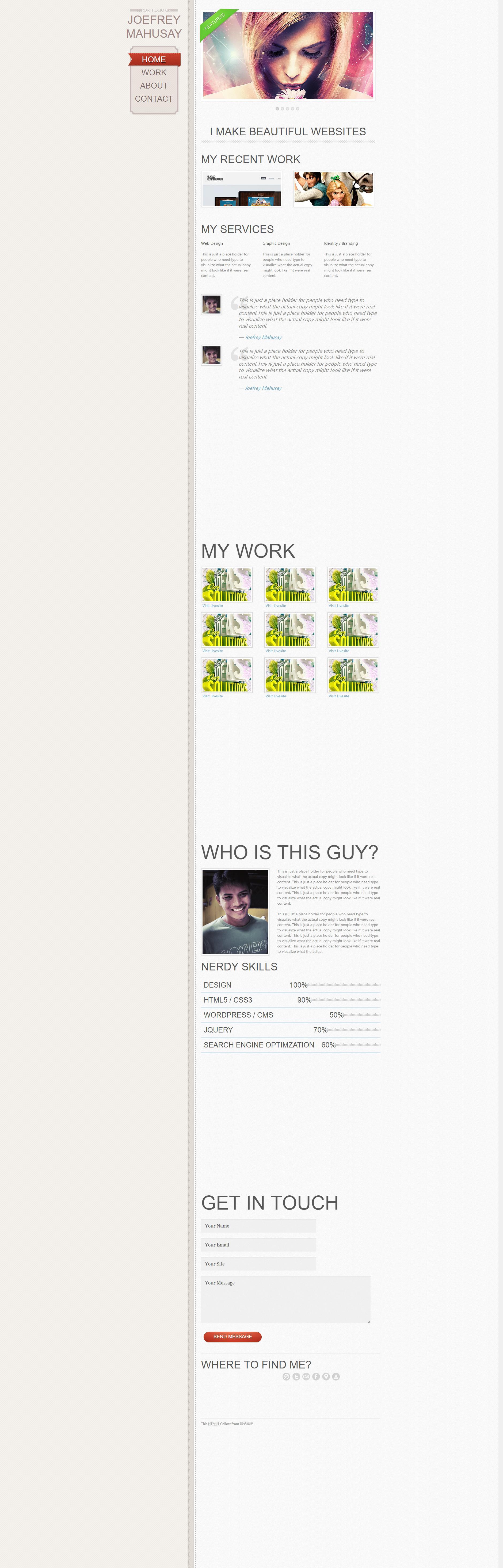 非常炫的网页设计师个人网站全站HTML5网页模版下载