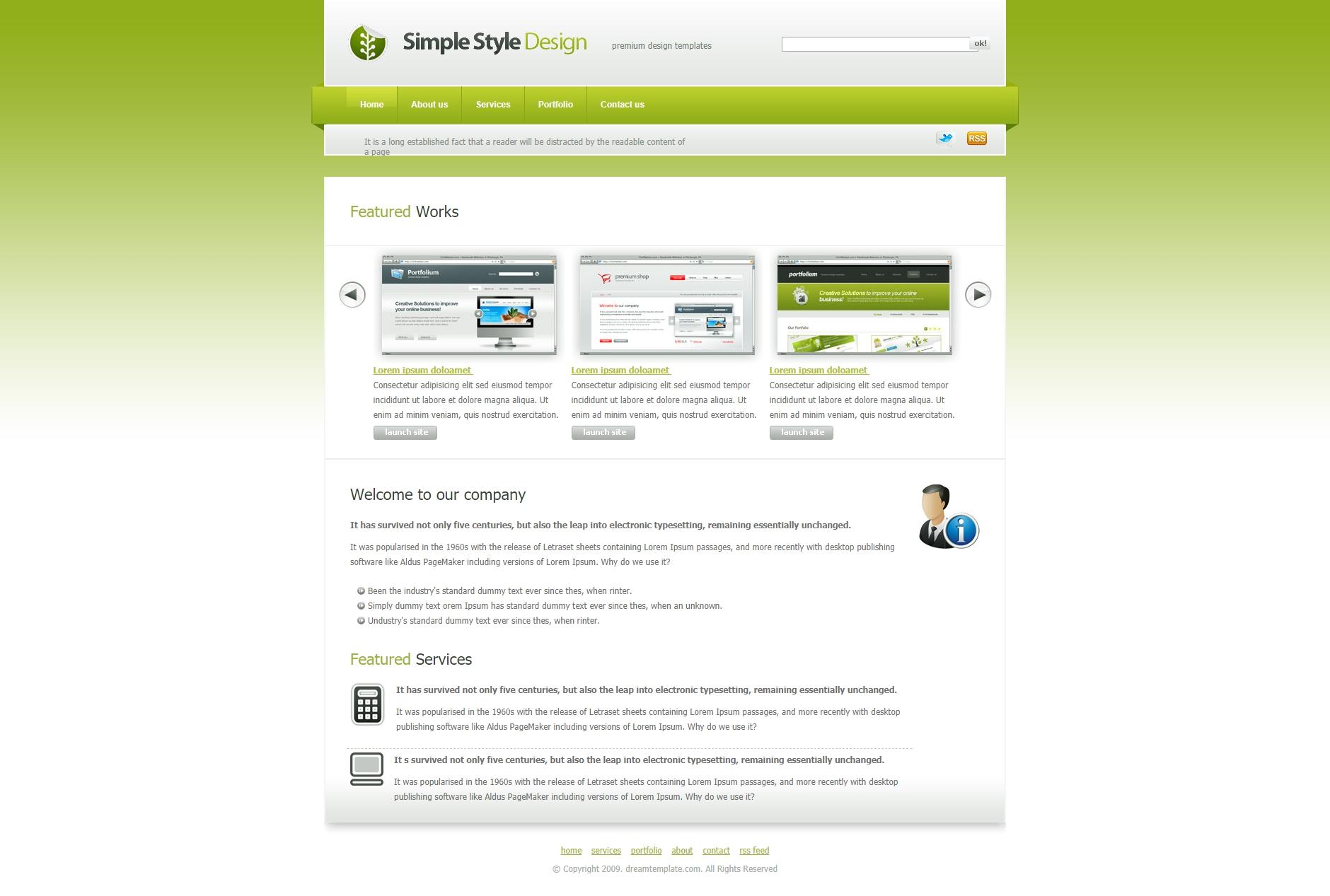 web 2.0绿色个人网页html模板下载