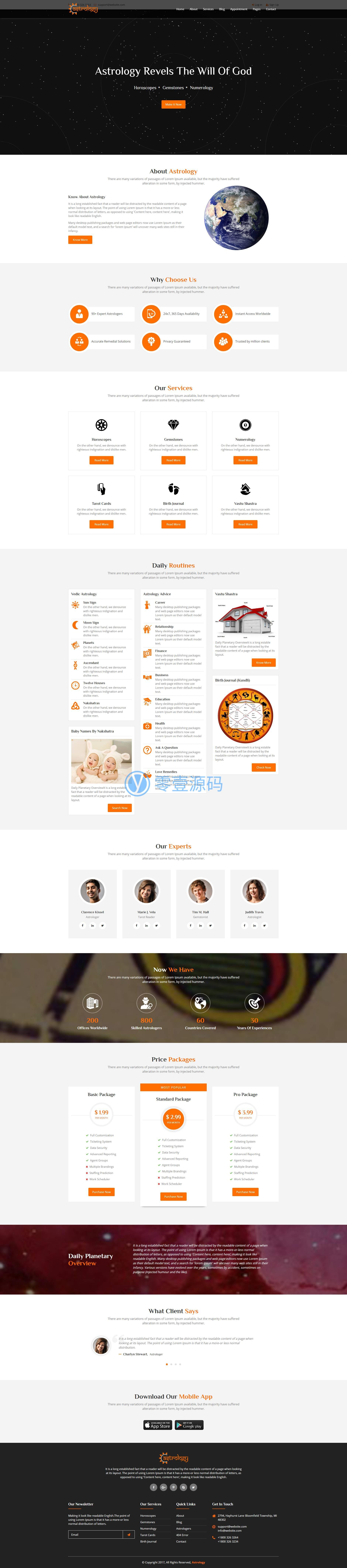 橙色大气的房屋求风水网站html模板