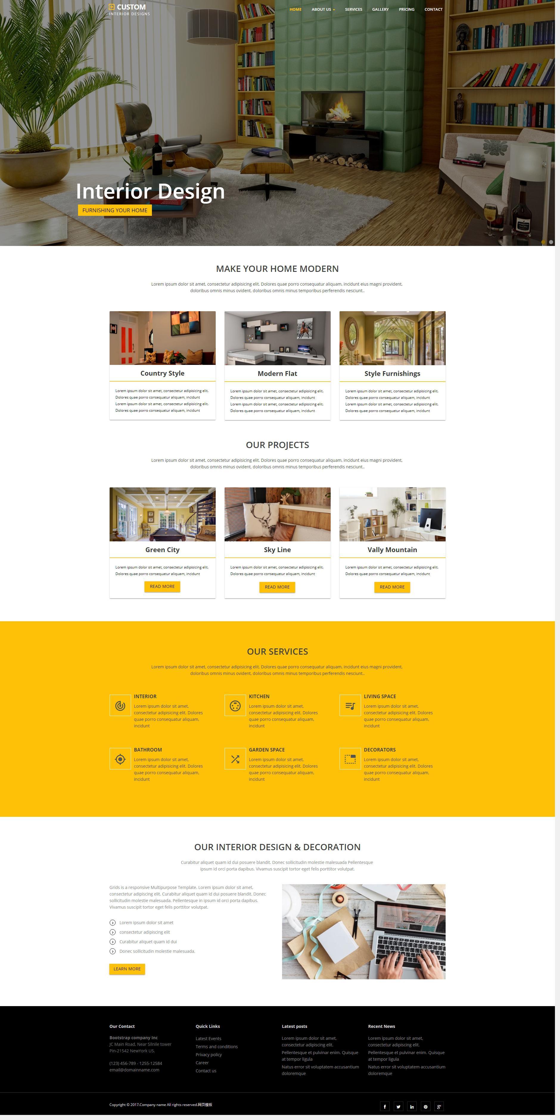 橙色大气的室内家具装饰公司网站html模板