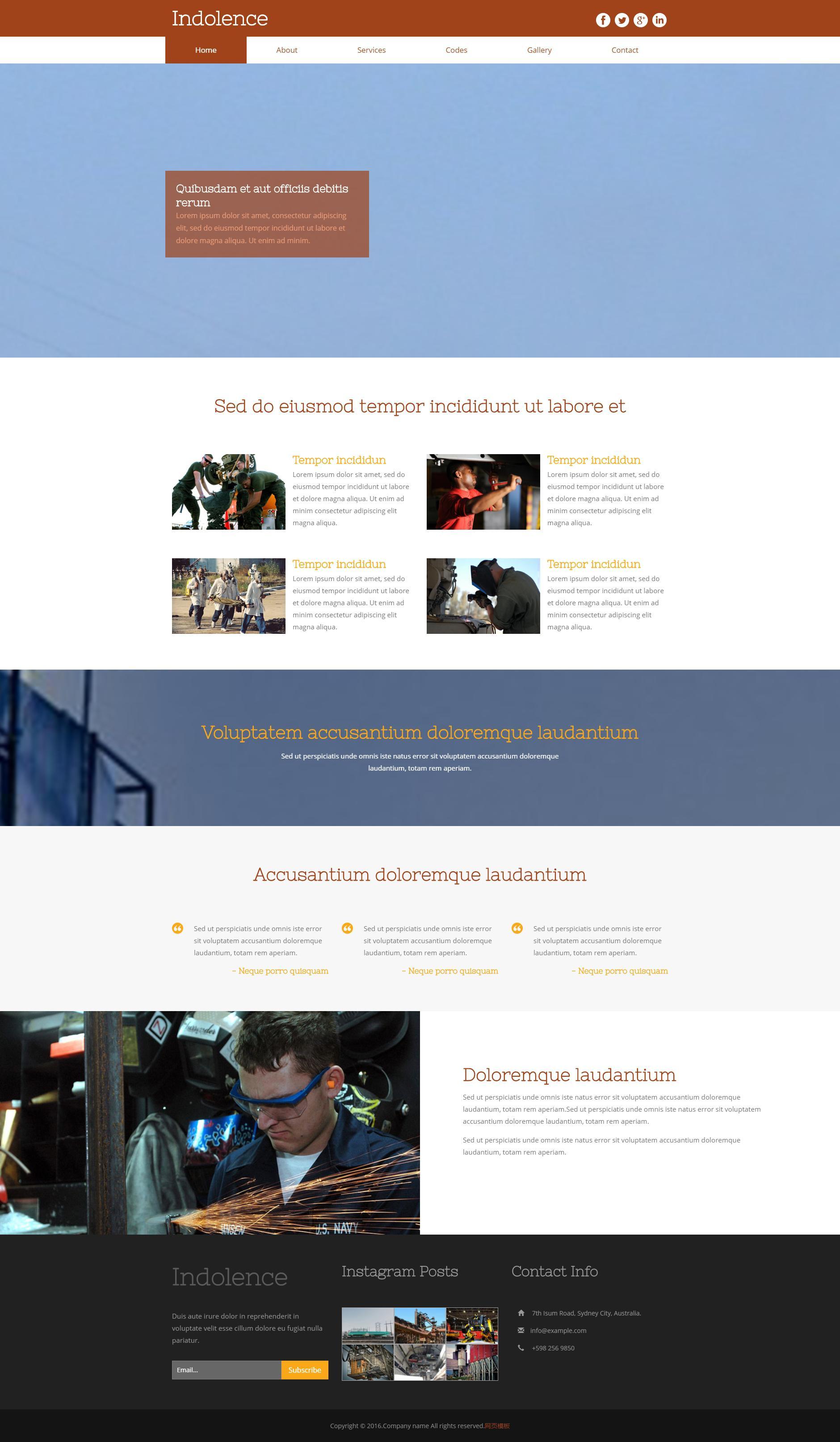 棕色的化工生产行业网站模板html下载