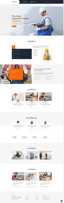橙色大气的室内装修公司网站html全站模板