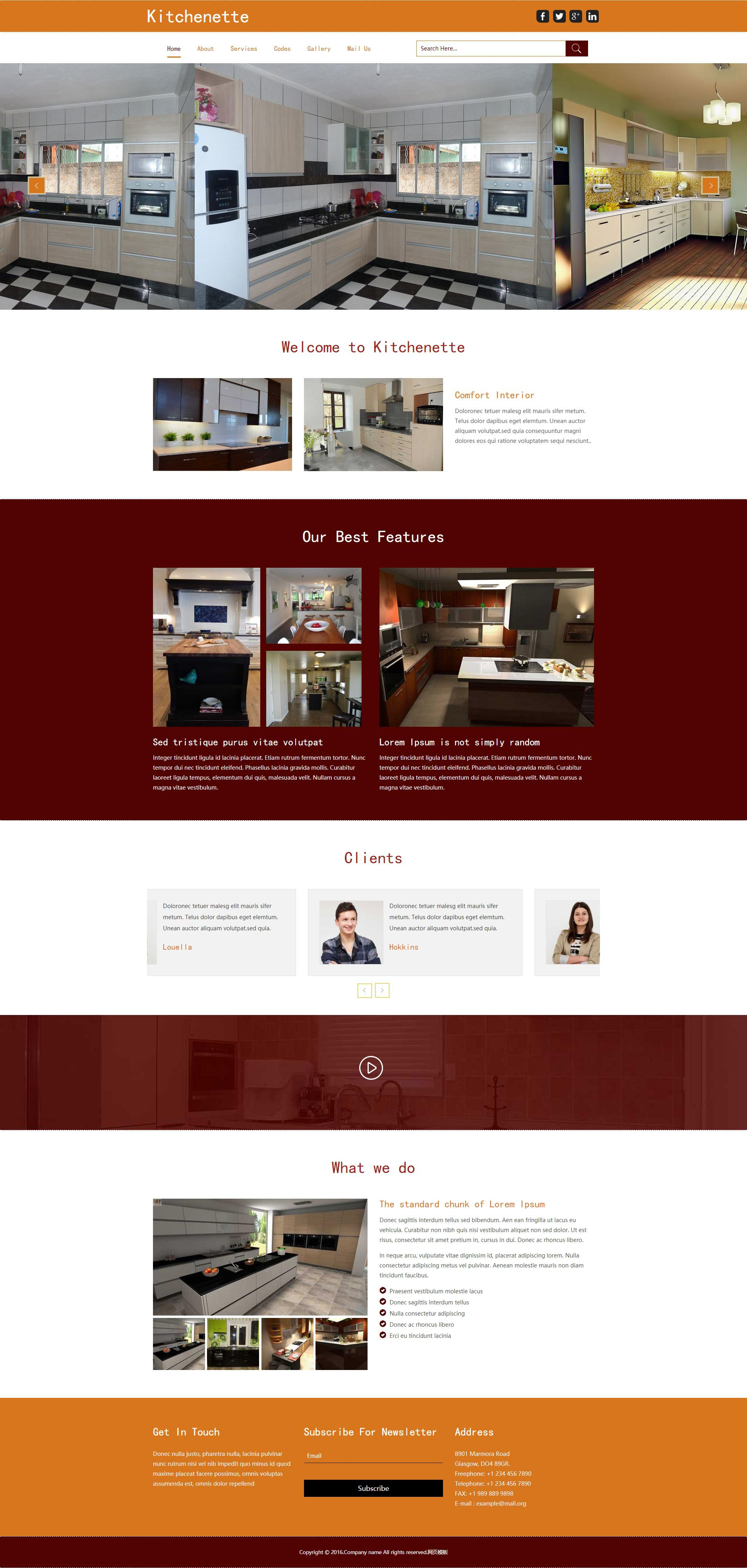 橙色宽屏的室内家具装饰公司网站静态html模板下载