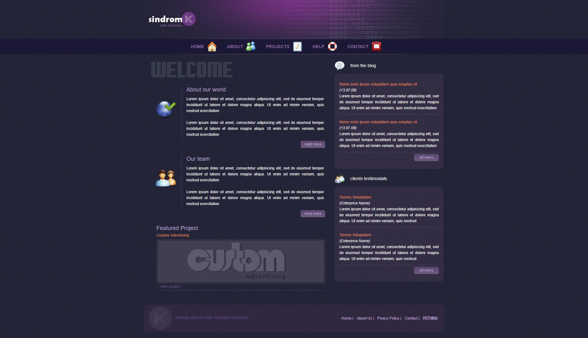 紫色的外国个人博客div css网页模板html源码下载
