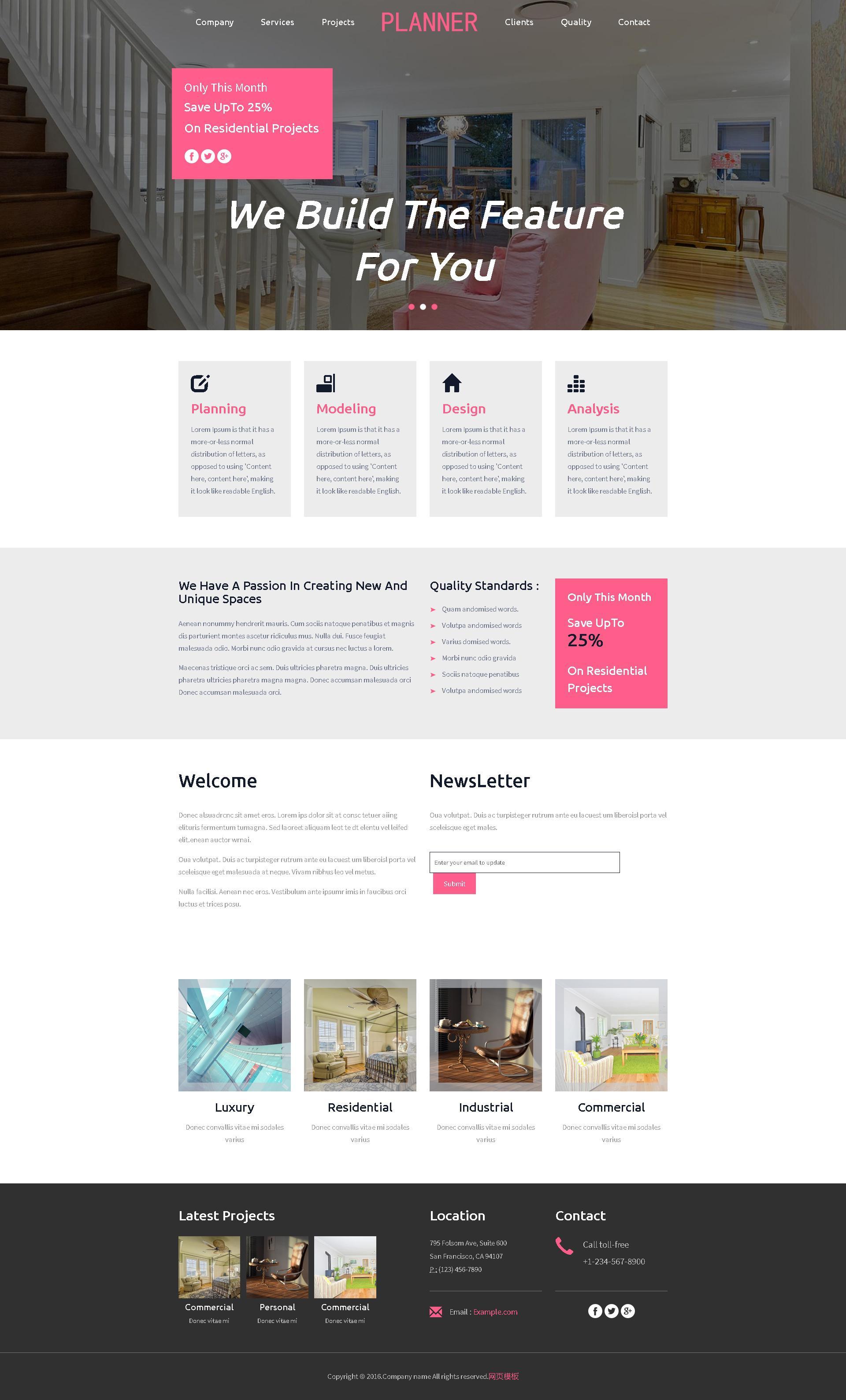 html5宽屏的房屋装饰公司网站模板