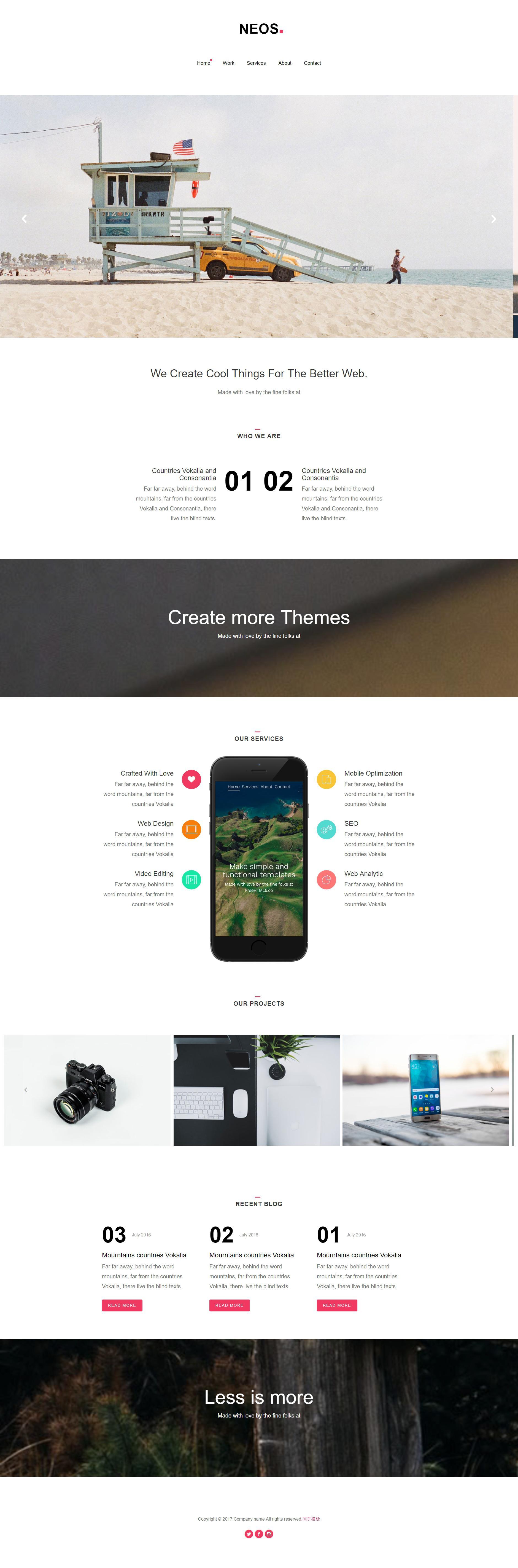 白色简洁的个人摄影拍摄公司网站静态html模板