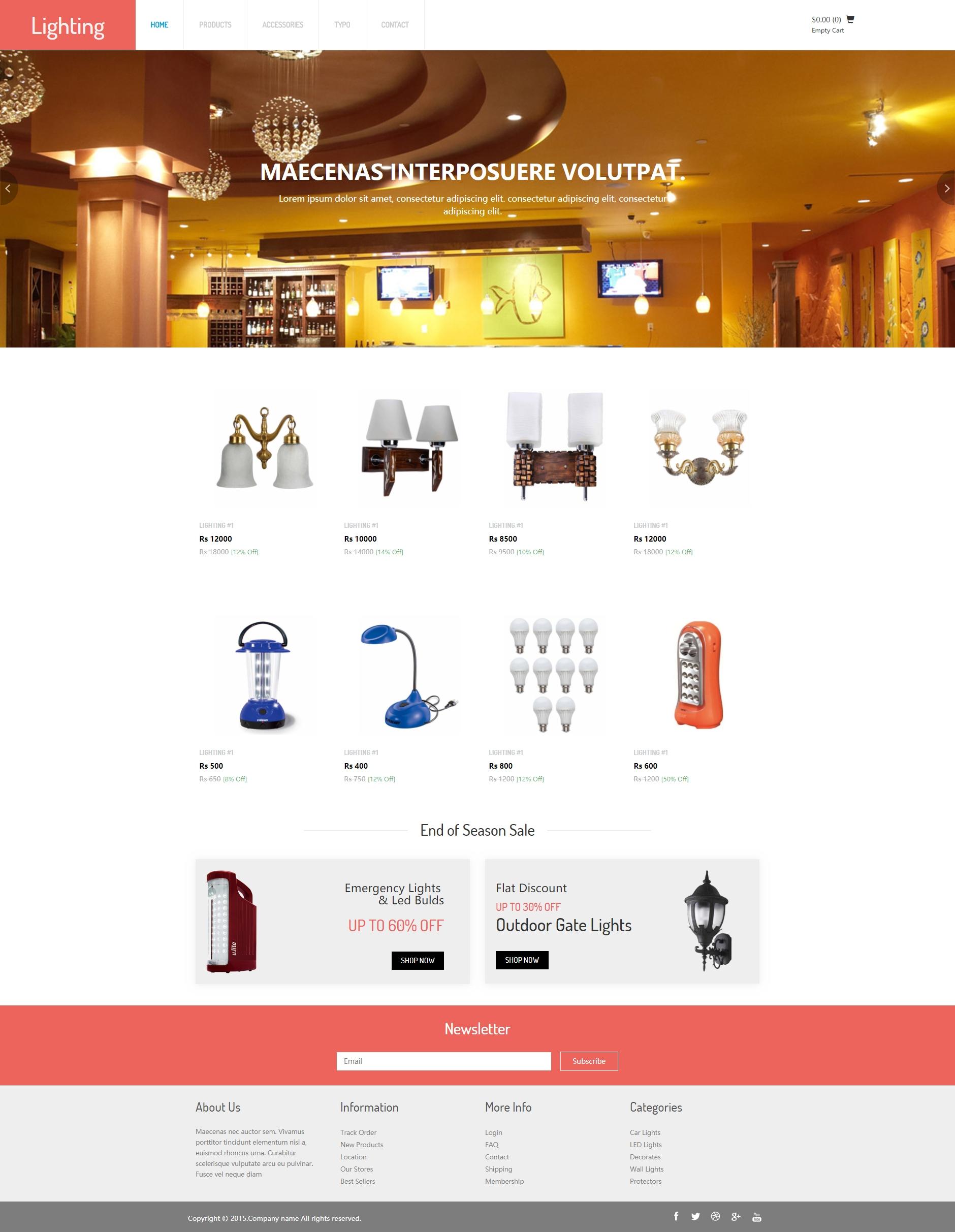 装修行业灯具网上商城模板html源码