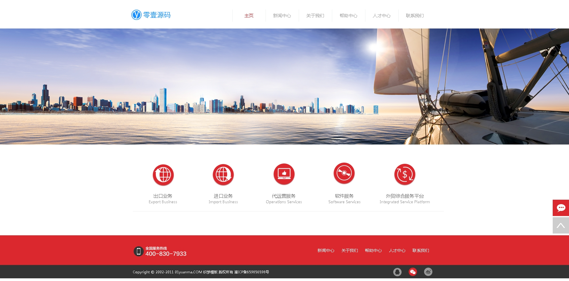 简洁红色电子商务类企业网站织梦dedecms模板
