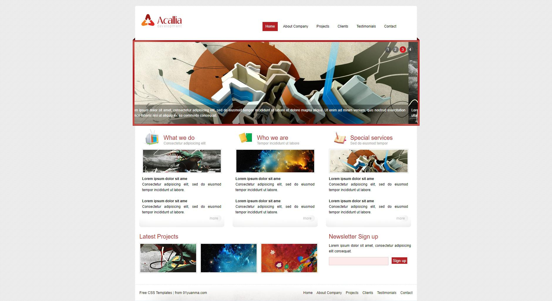 红色的英文企业网站模板html下载