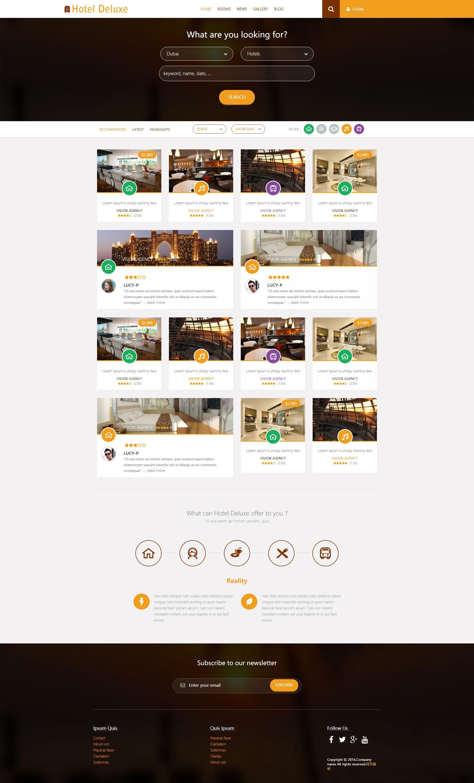 橙色的高级酒店预订网站响应式html5模板