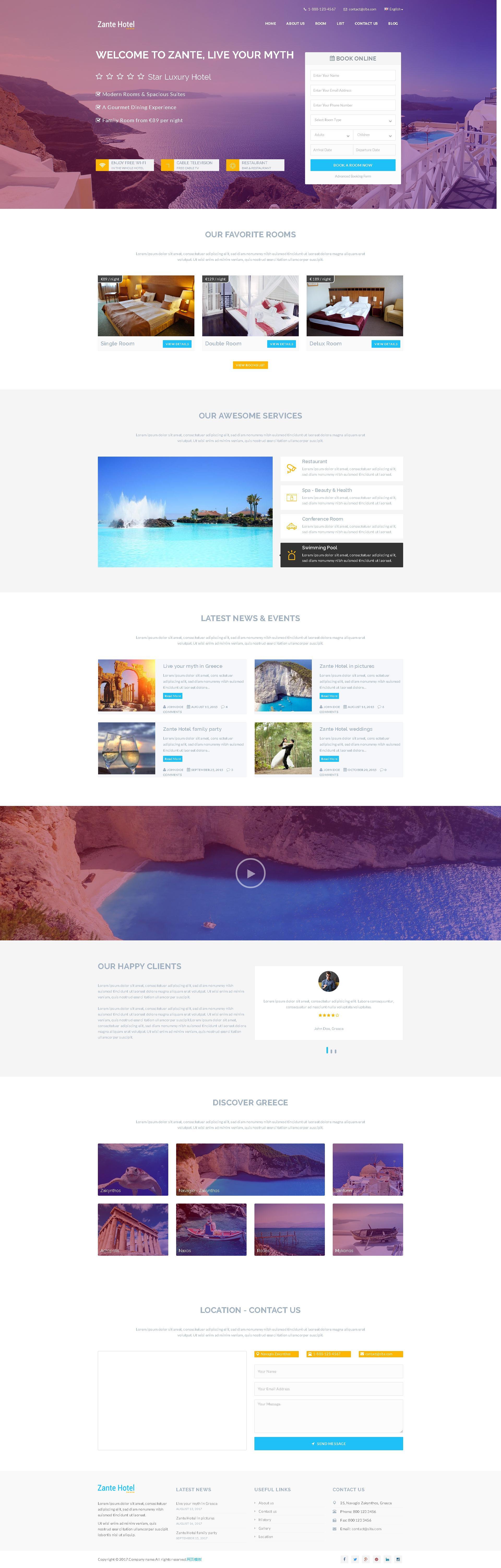 html5大气的国外旅游酒店预订网站模板