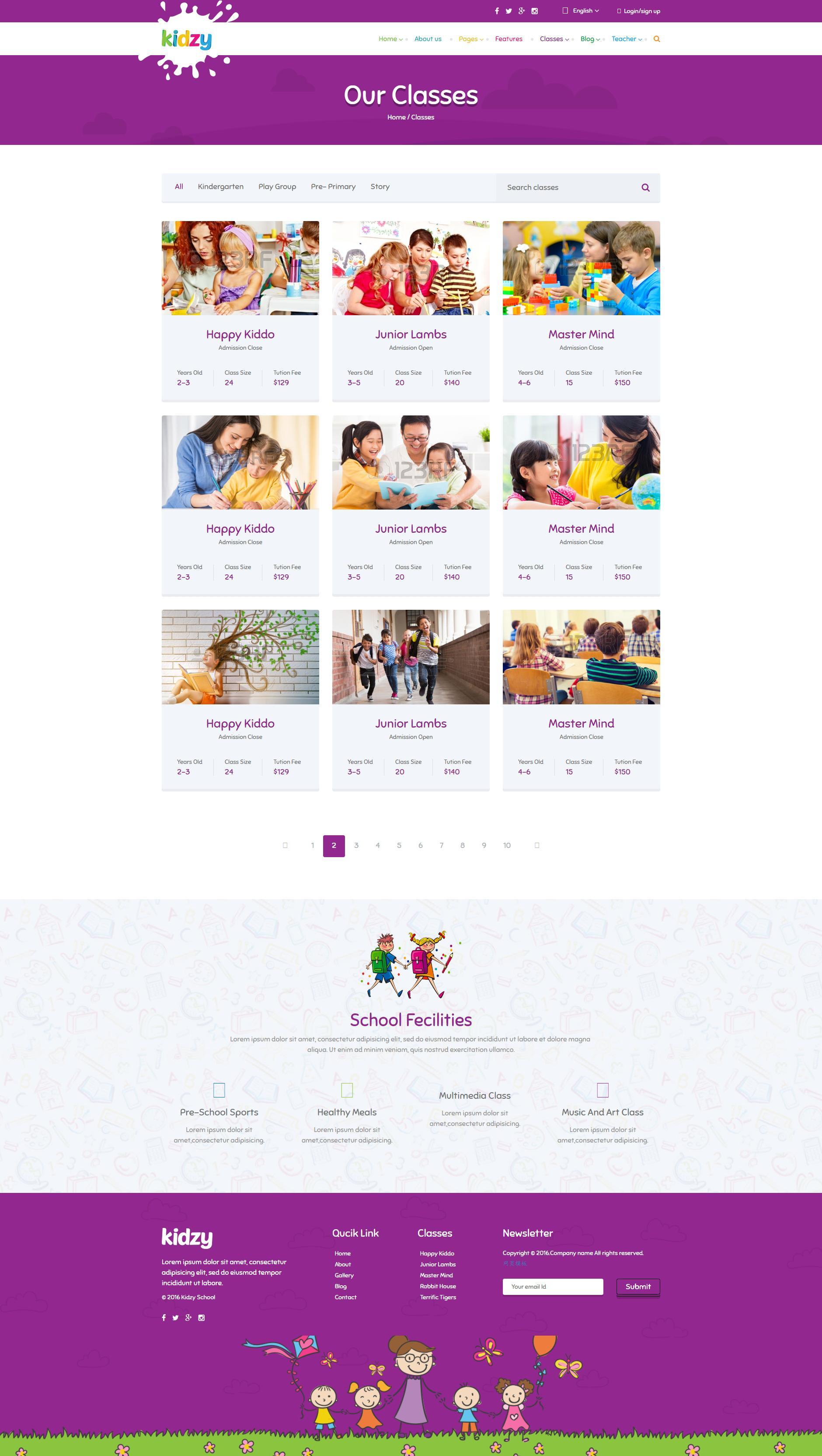紫色卡通风格的儿童教育培训网站模板html下载
