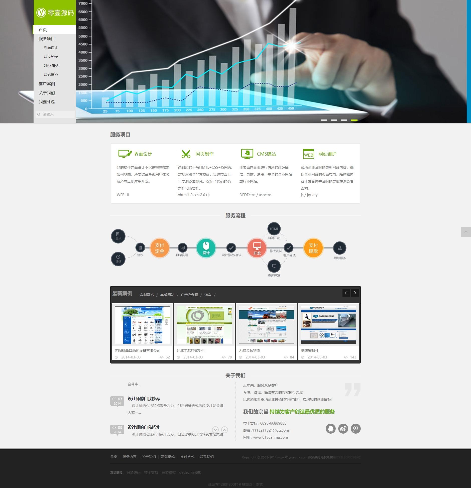 绿色清新网络工作室类公司网站织梦dedecms模板