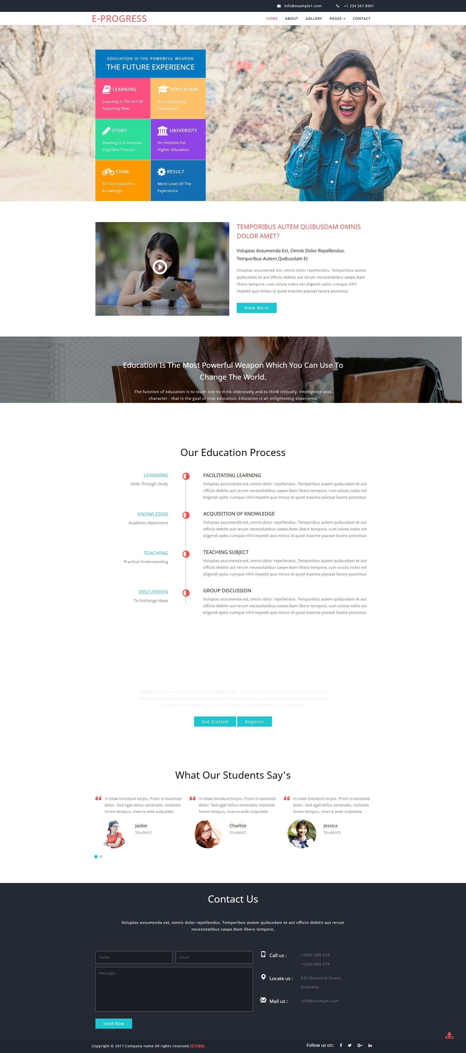 实用的教育培训类网页html模板
