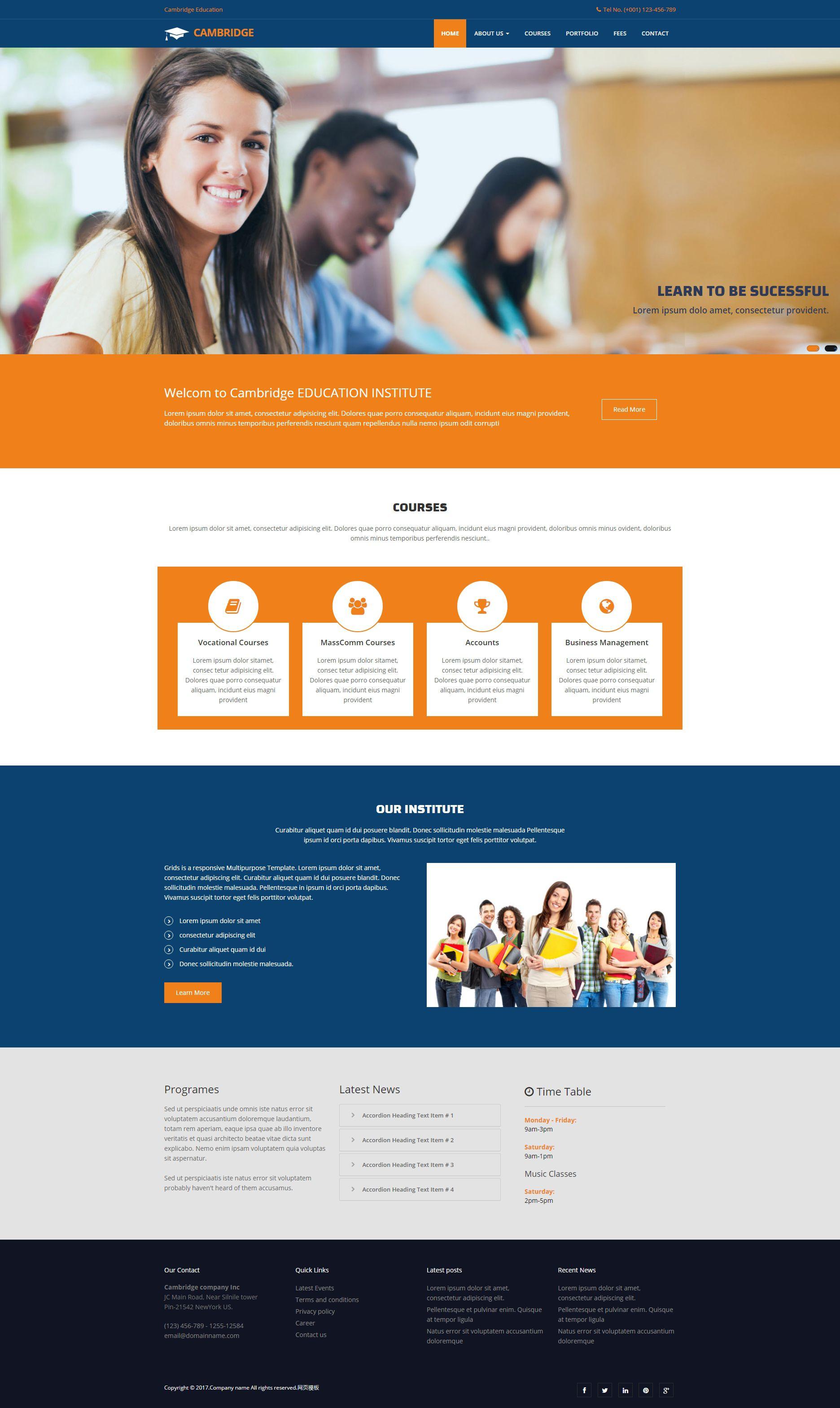 实用的大学教育学校网站模板html下载