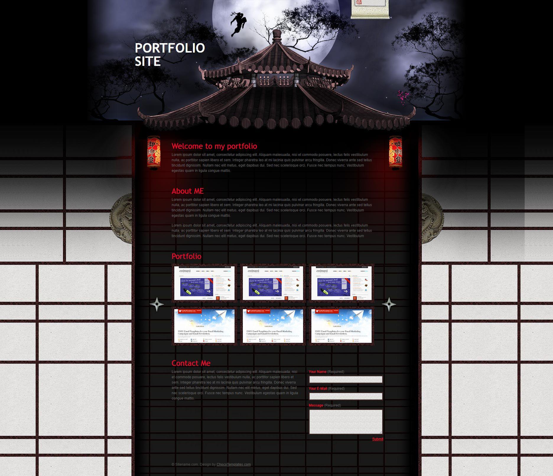 忍者杀手主题特色的简单个人作品展示博客网站HTML模板源码下载