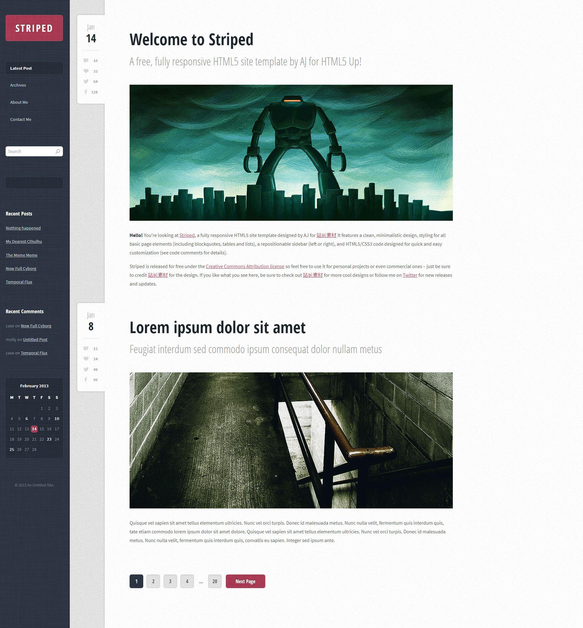 欧美简洁的UI个人网站首页博客模板html下载