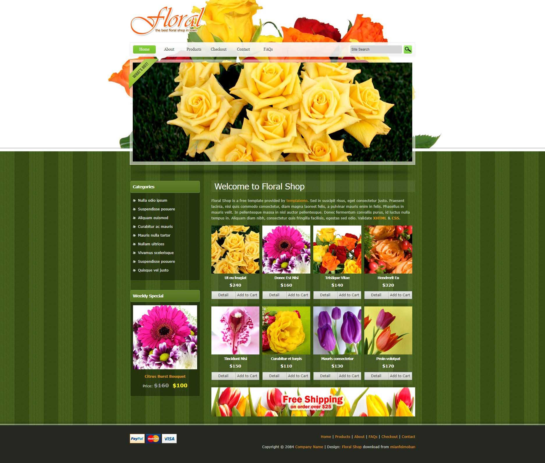 绿色的鲜花店商城网页HTML整站模板下载