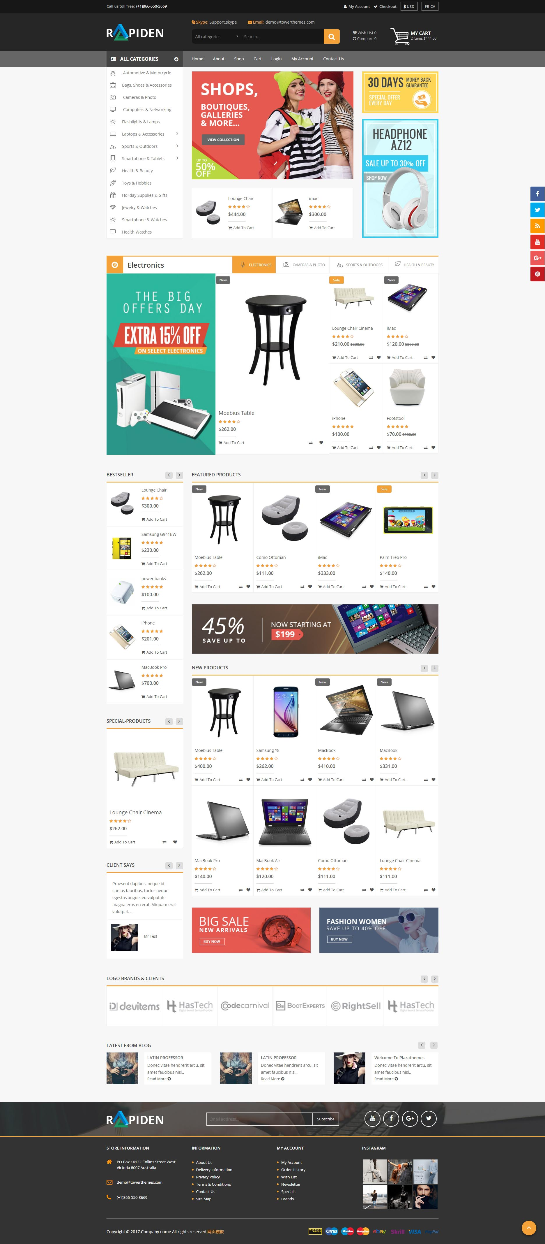 黑色通用的生活购物商城网站响应式模板