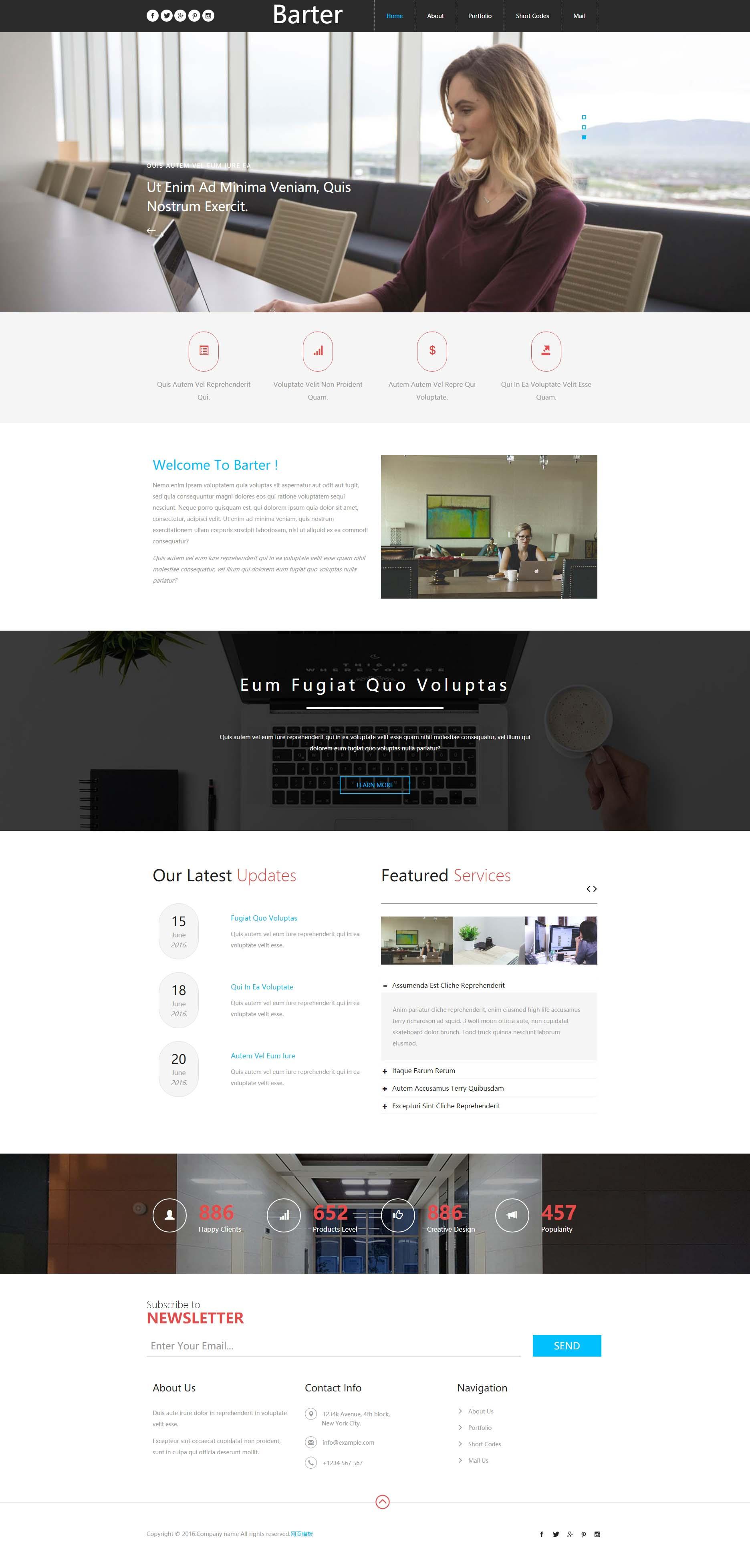 黑色宽屏的商务合作公司html5响应式模板