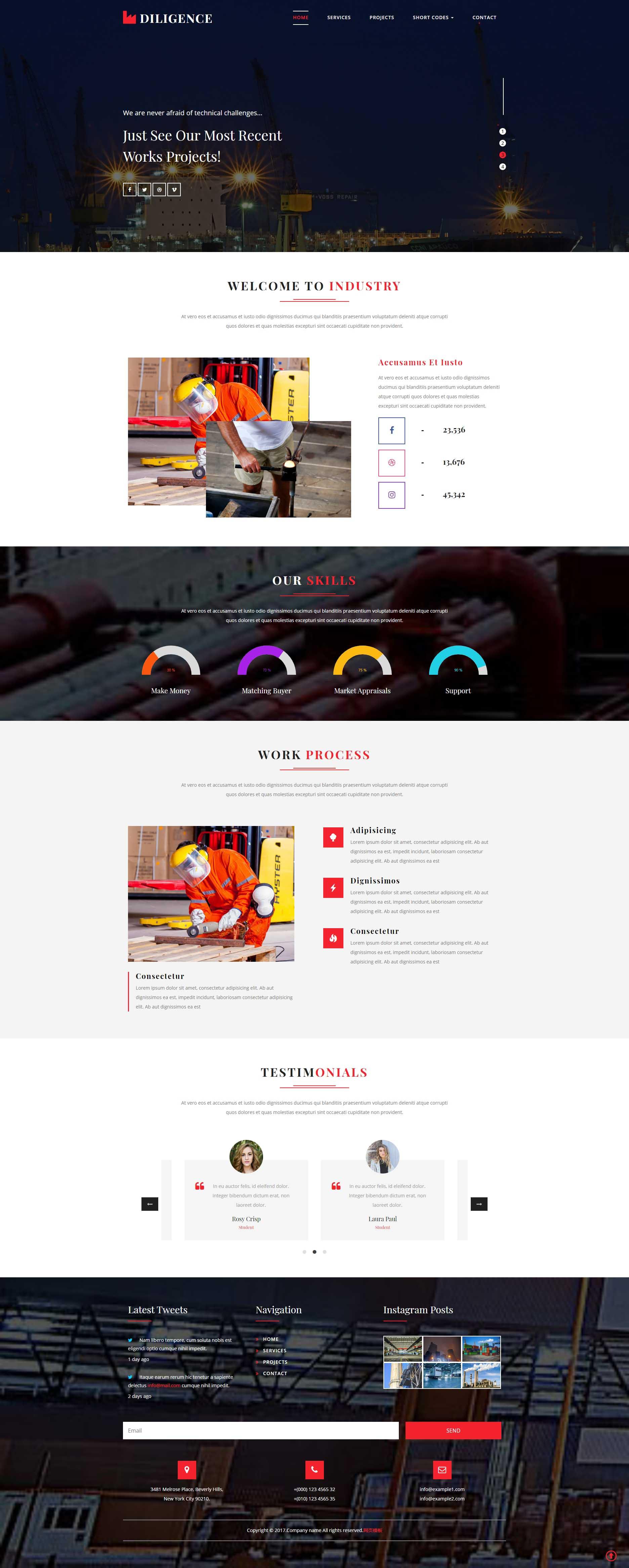 简单宽屏的工业生产集团网站模板
