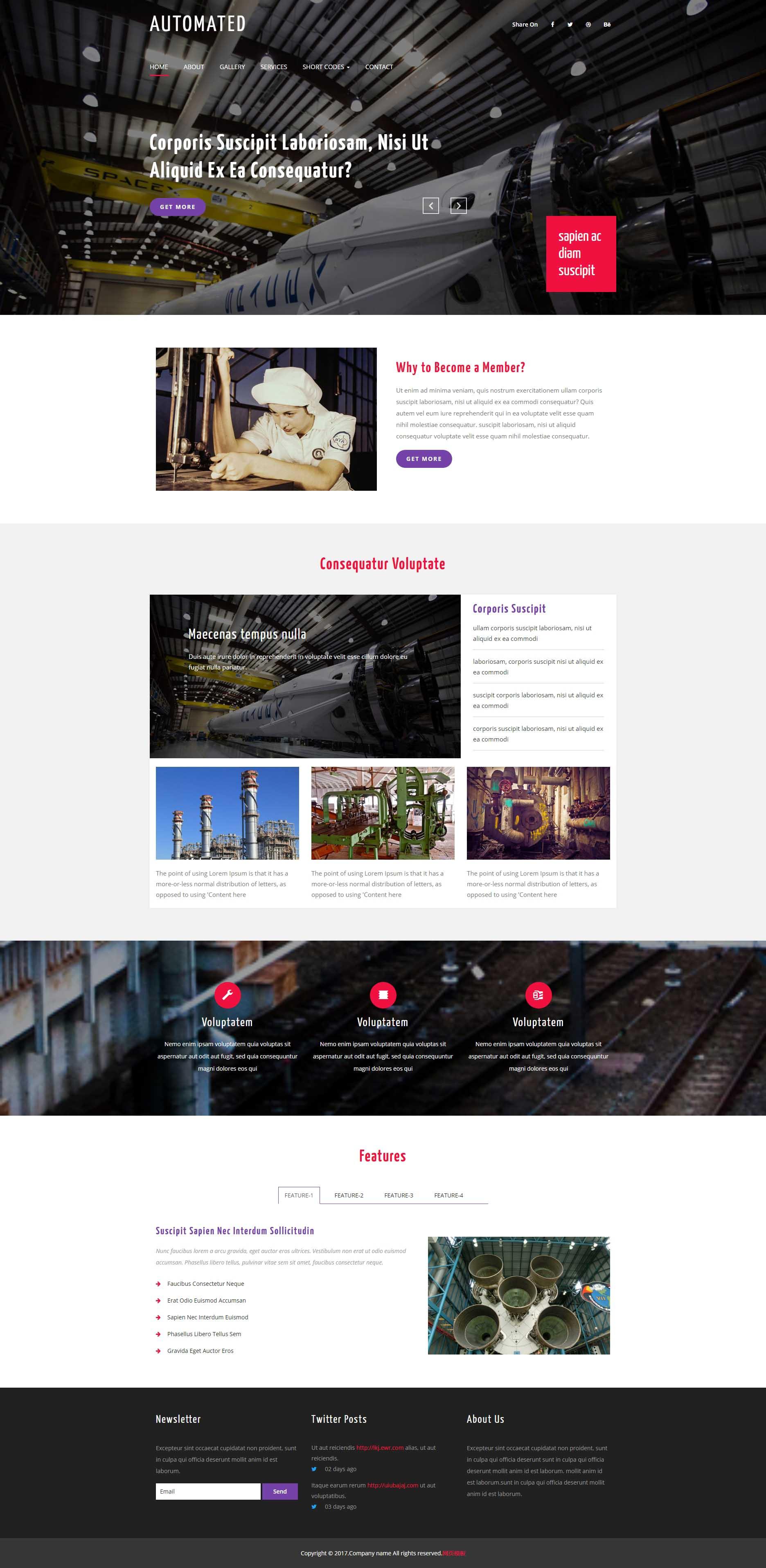 黑色宽屏的机械工业网站模板html整站