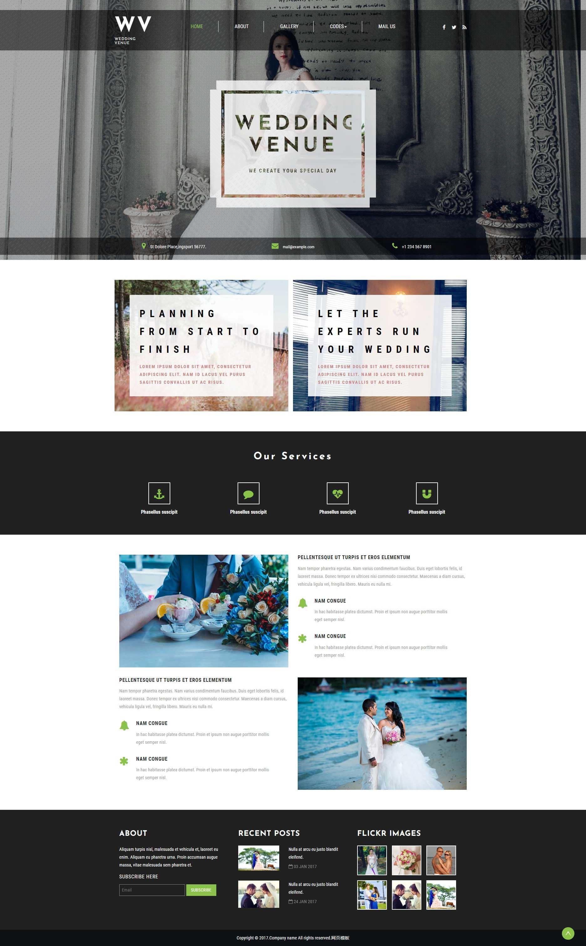 黑色宽屏的婚纱摄影公司网页html模板下载