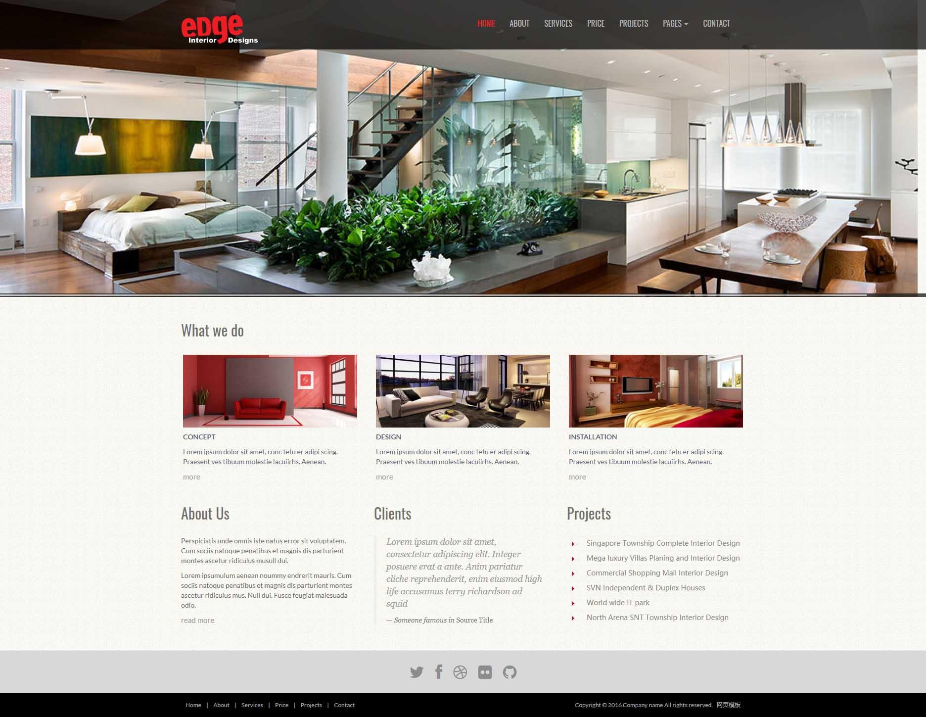 黑色宽屏的室内家具装饰公司网站静态html模板