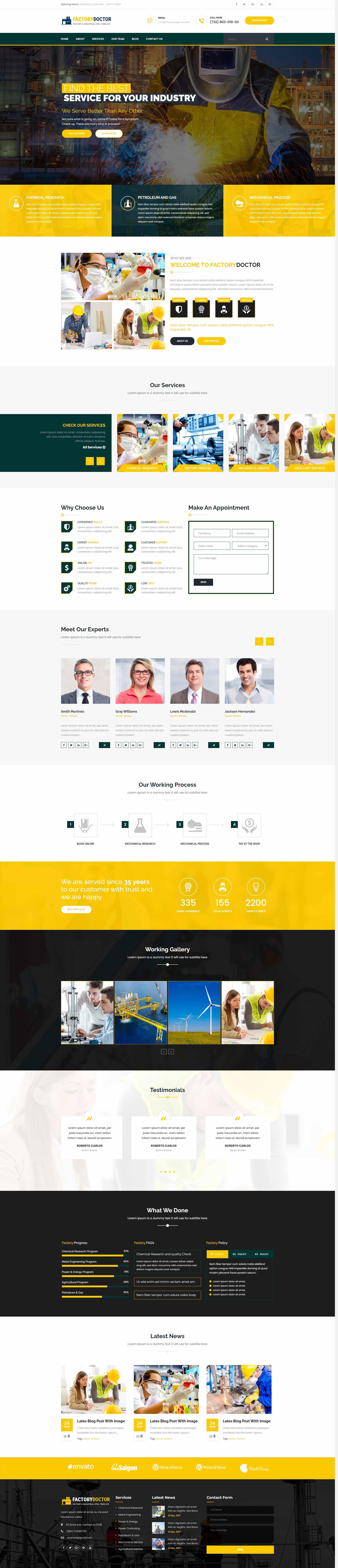 黄色大气的工业生产行业网站模板html下载