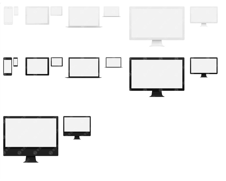 Mac iPhone iPad扁平白模苹果设备样机模型