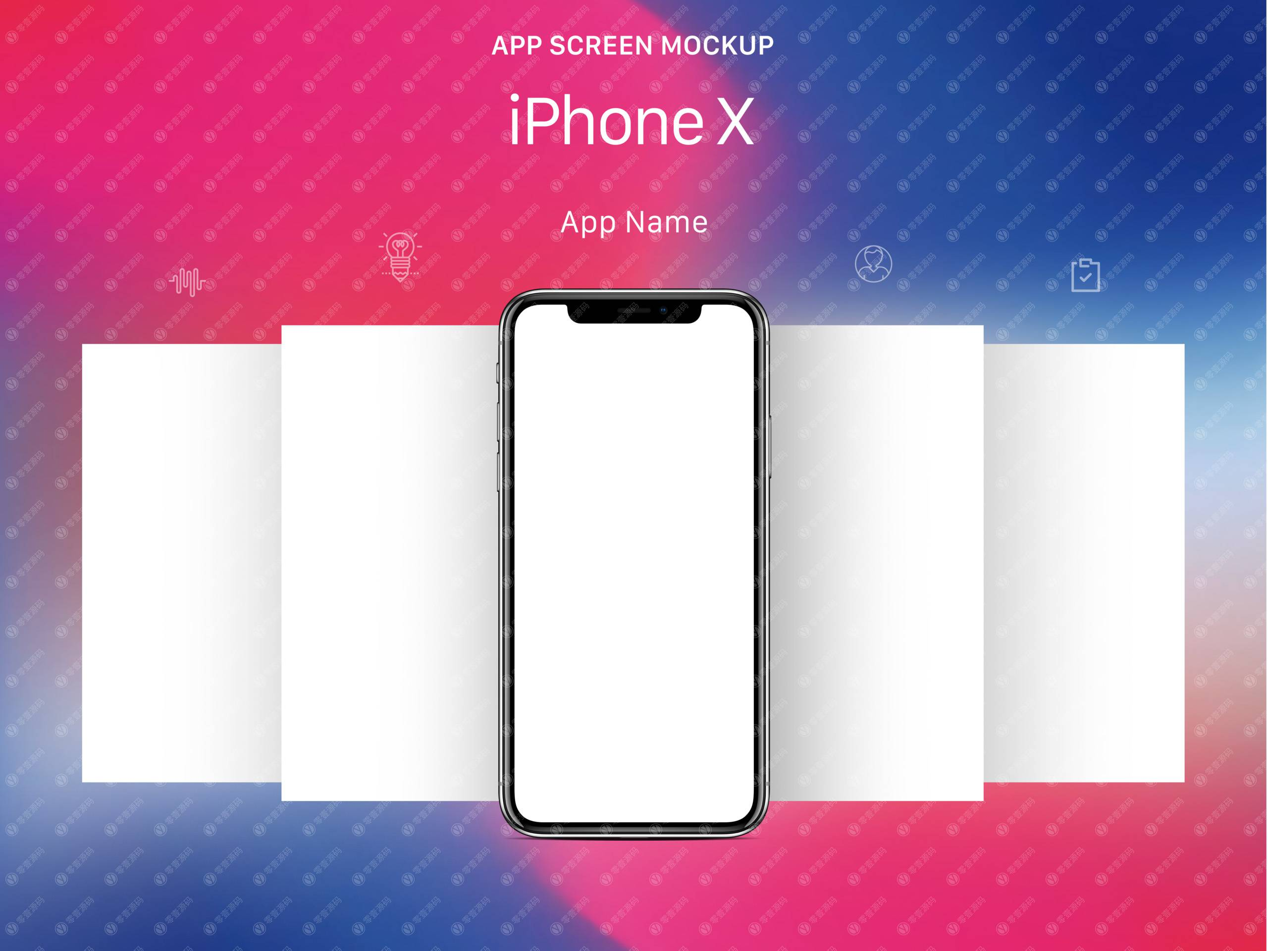 iPhoneX Mockups 苹果X手机样机组合模型素材psd源文件