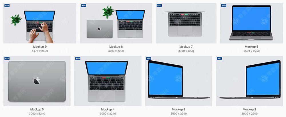 MacBook苹果笔记本电脑样机模型素材psd源文件
