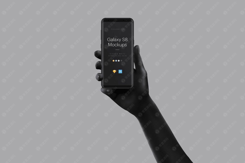 GalaxyS8手持黑白双色手机样机模型素材psd源文件