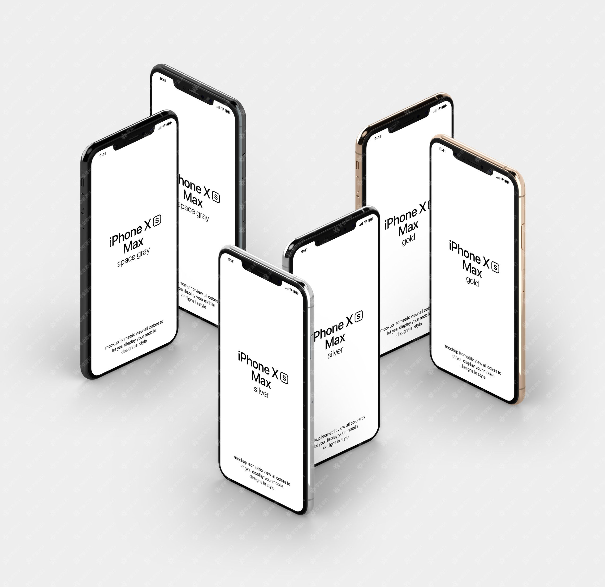 iPhoneXS Max苹果XS手机样机组合展示模型素材psd源文件