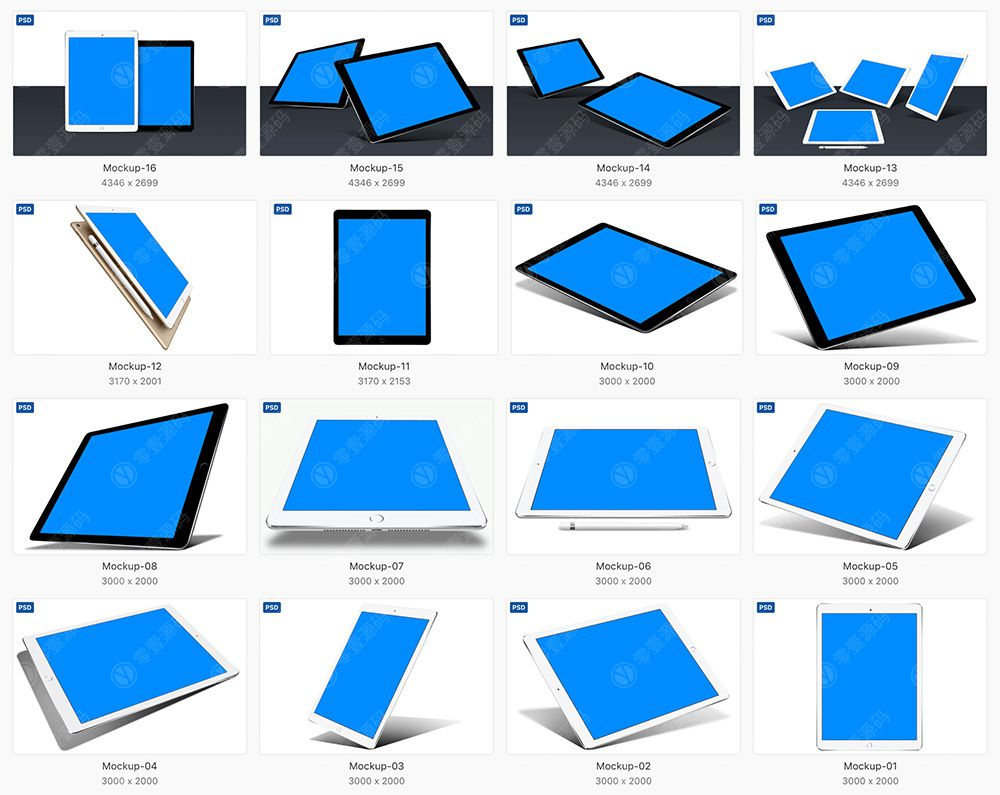 iPad Mockups黑白双色样机模型19组PSD下载