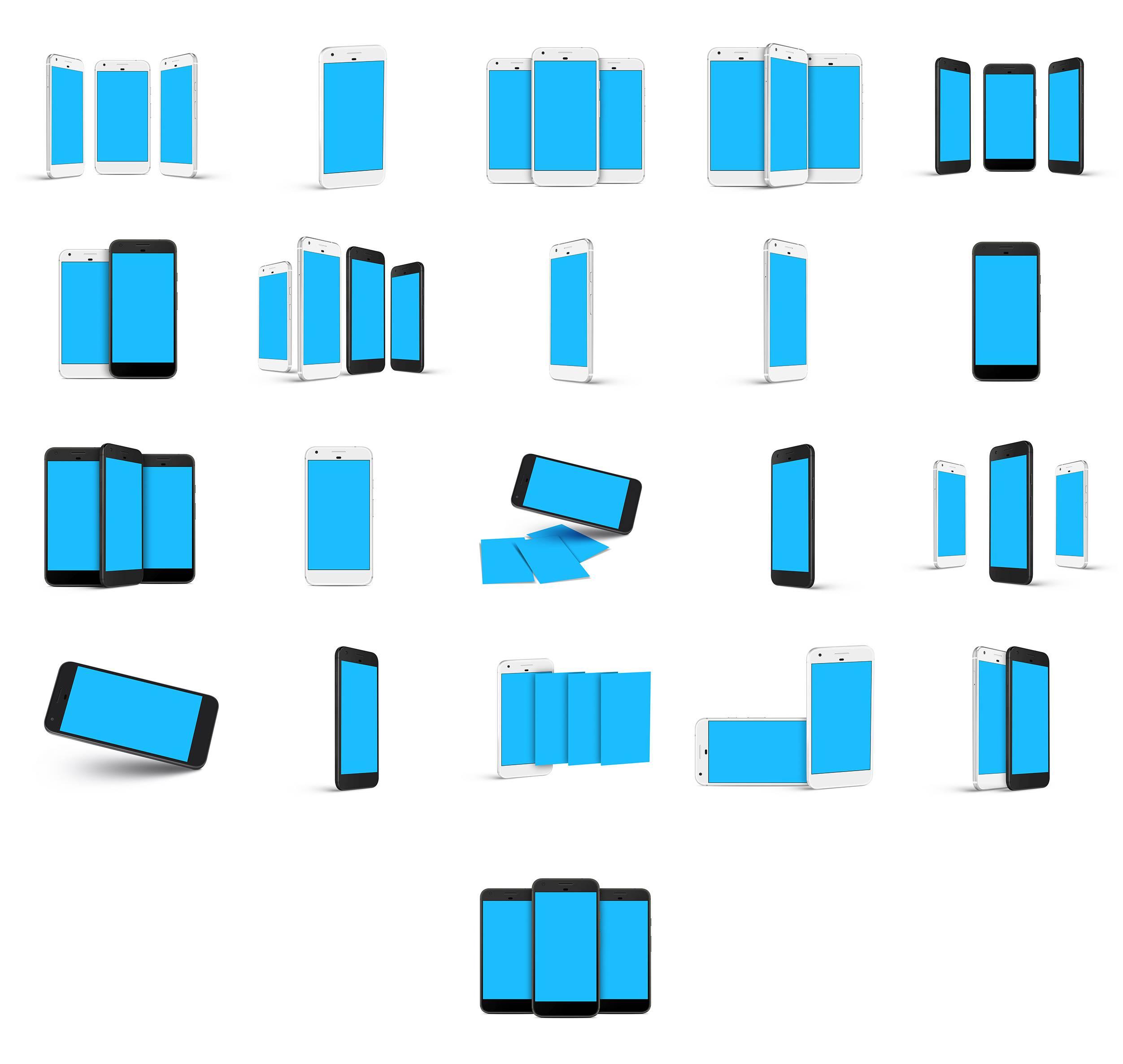 Google Pixel黑白双色多角度安卓手机设备样机模型素材psd源文件