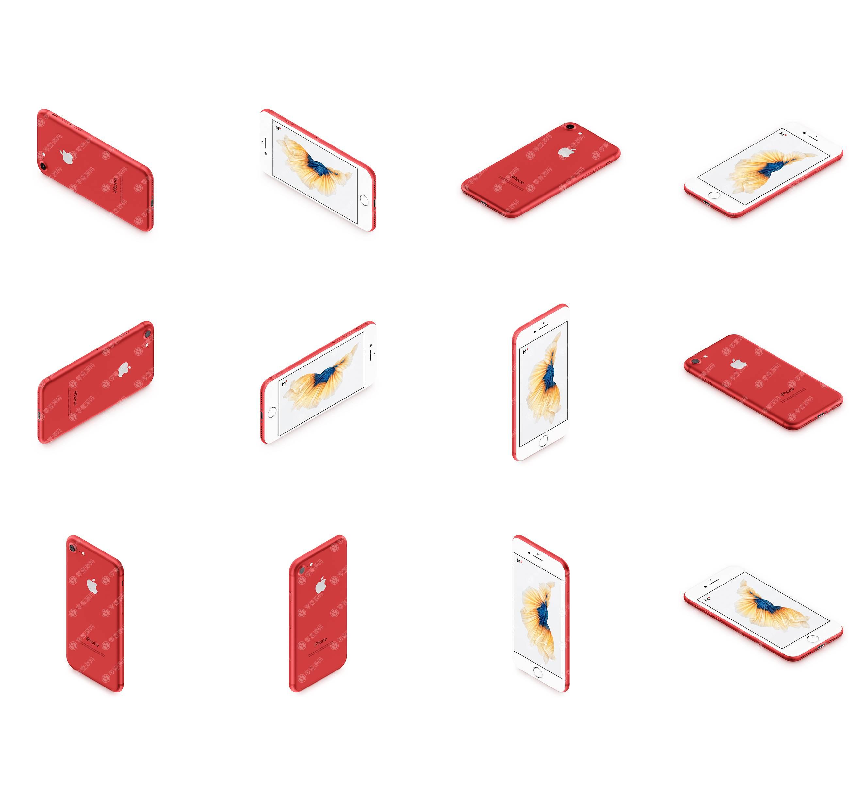 红色iPhone多角度12张样机模型素材psd源文件