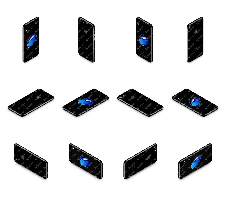 亮黑色iPhone多角度12张样机模型素材psd源文件