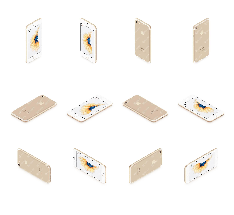 金色iPhone多角度12张样机模型素材psd源文件