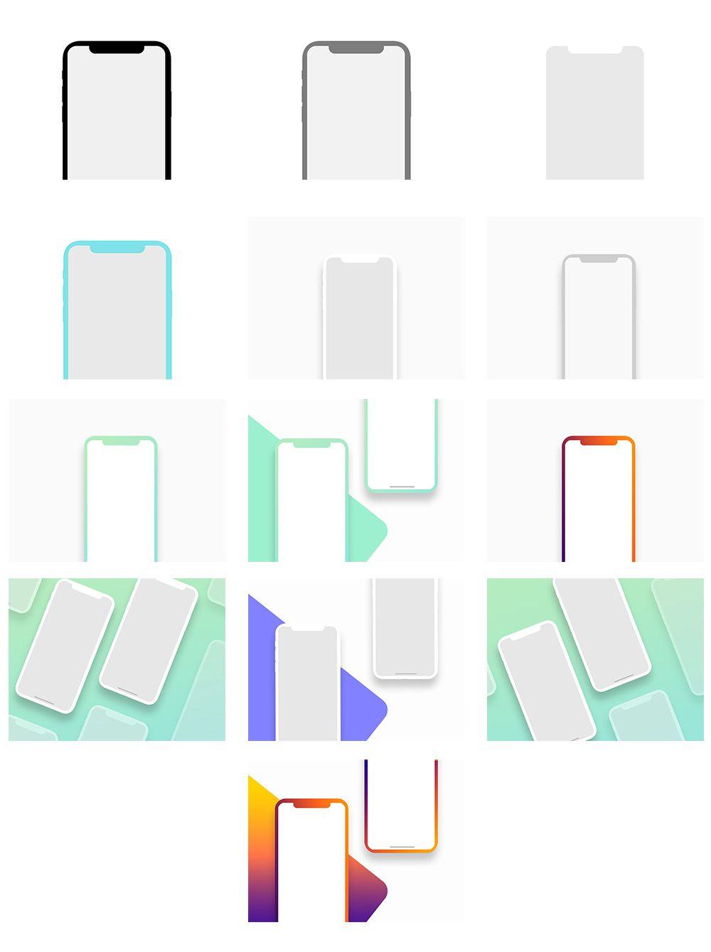iPhone x Mockups苹果X多色样机模型素材psd源文件