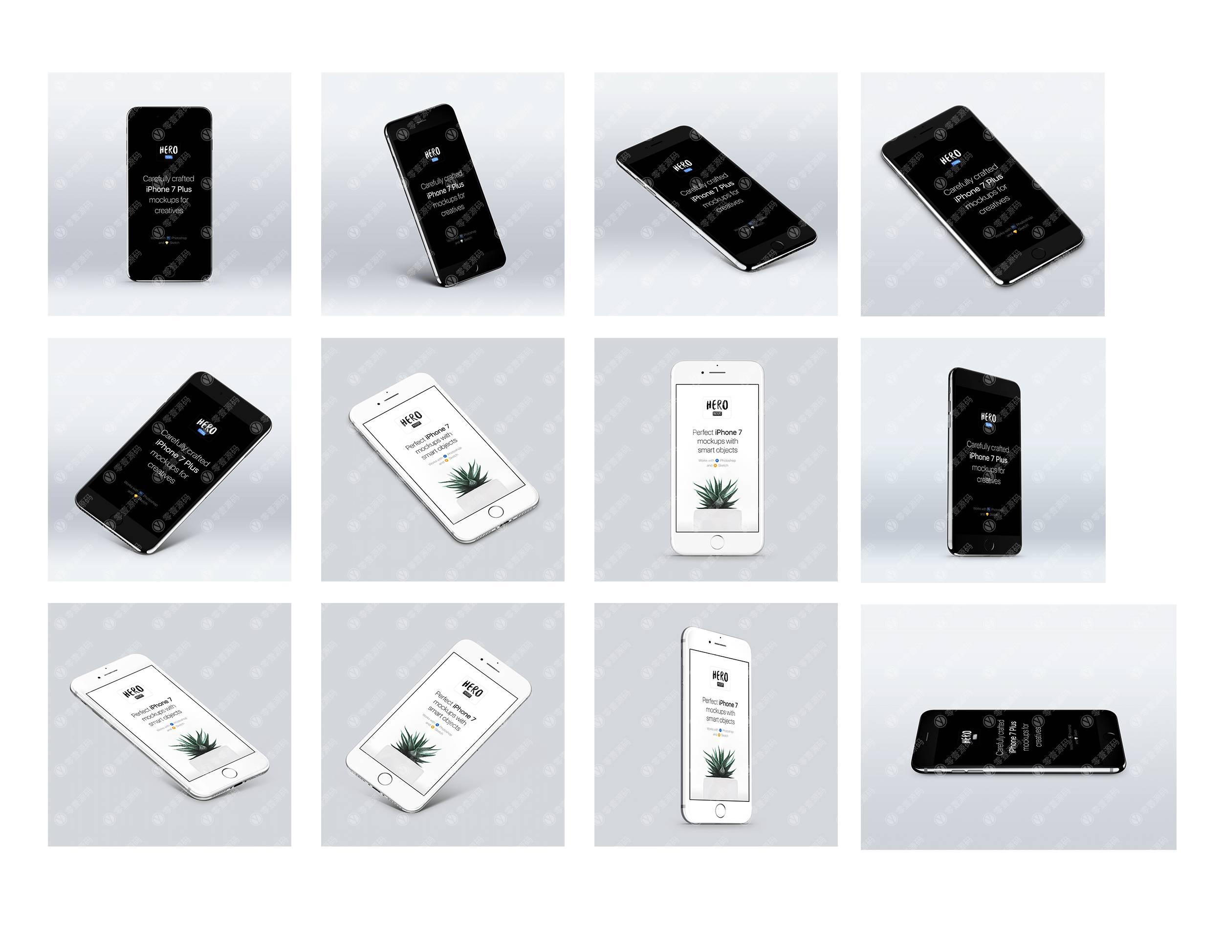 iPhone 7黑白双色多角度样机模型素材