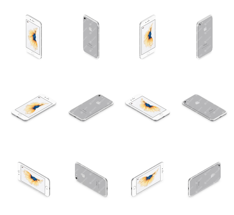 银色iPhone多角度12张样机模型素材psd源文件