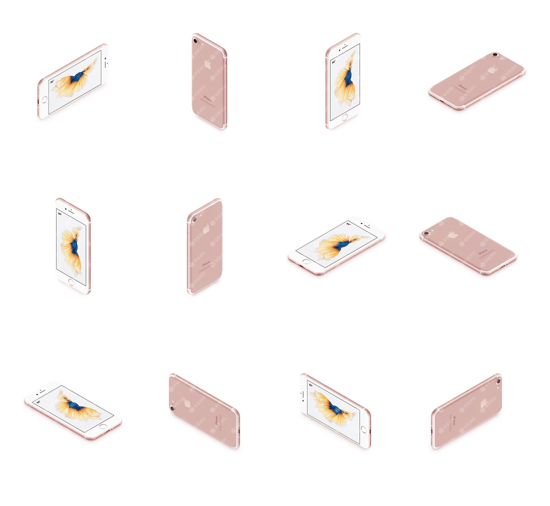 玫瑰金iPhone多角度12张样机模型素材psd源文件
