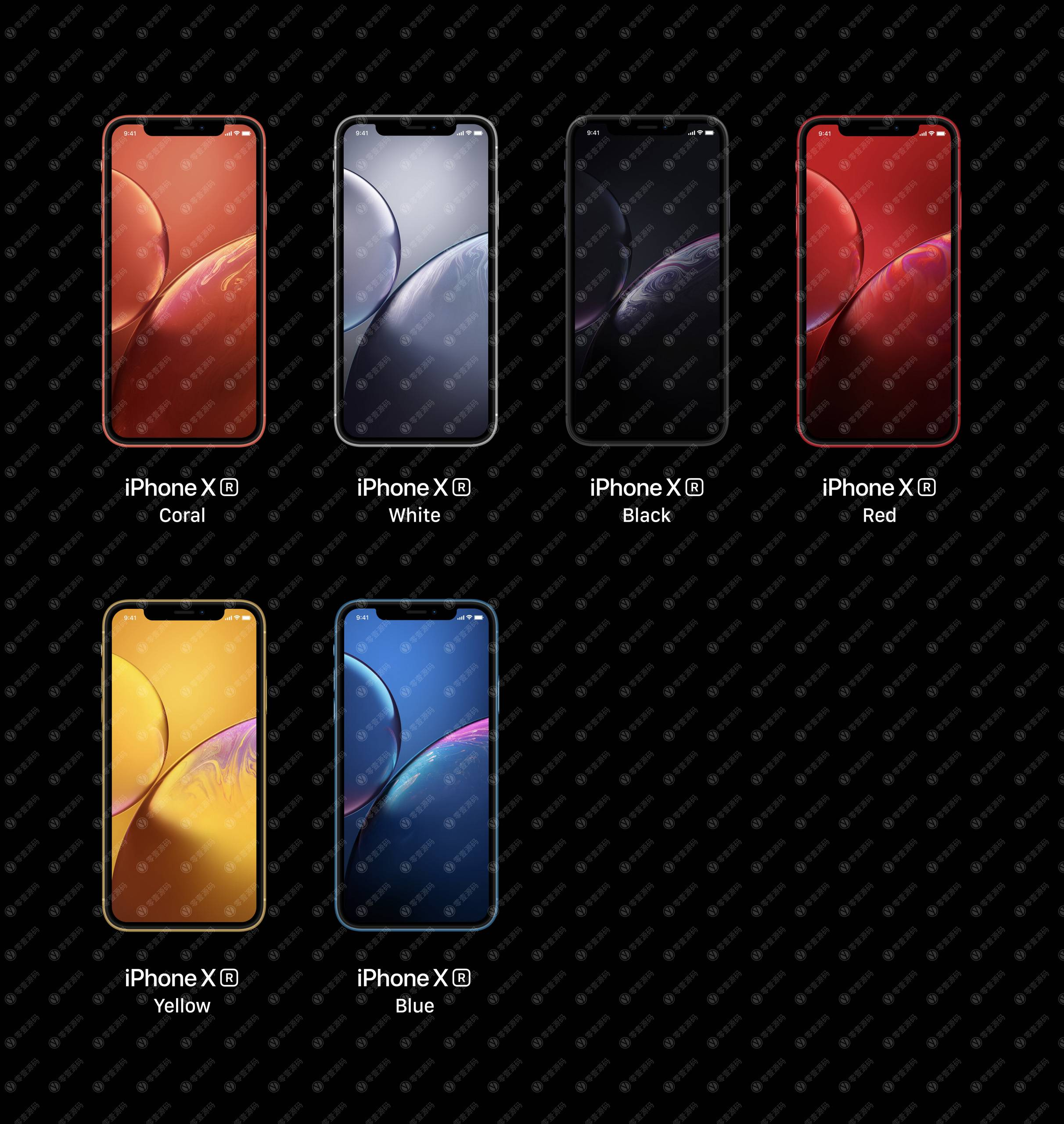 iPhoneXR Mockups 苹果XR手机样机六色组合模型PSD