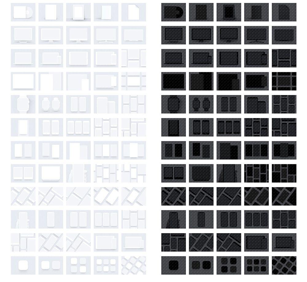 iPhone iPad MacBook iMa Mockups 苹果设备黑白双色素材下载