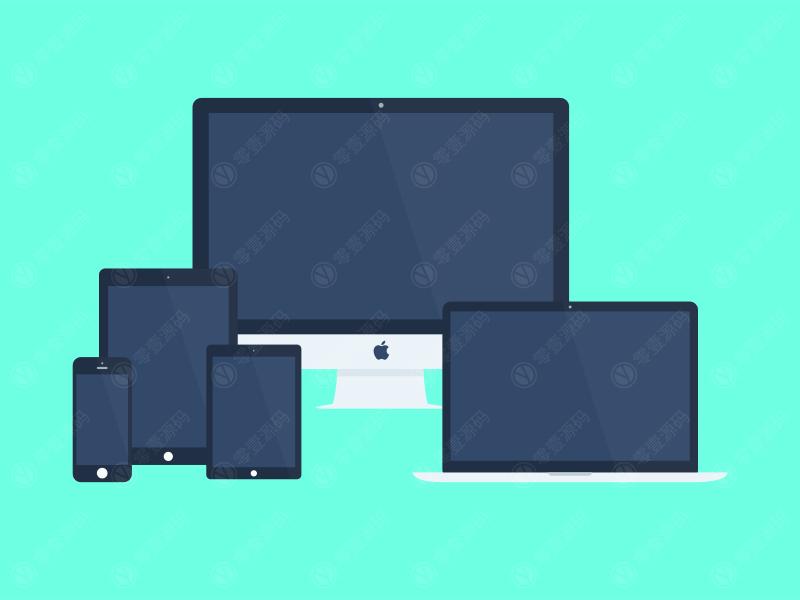 扁平苹果设备组合样机模型素材psd源文件