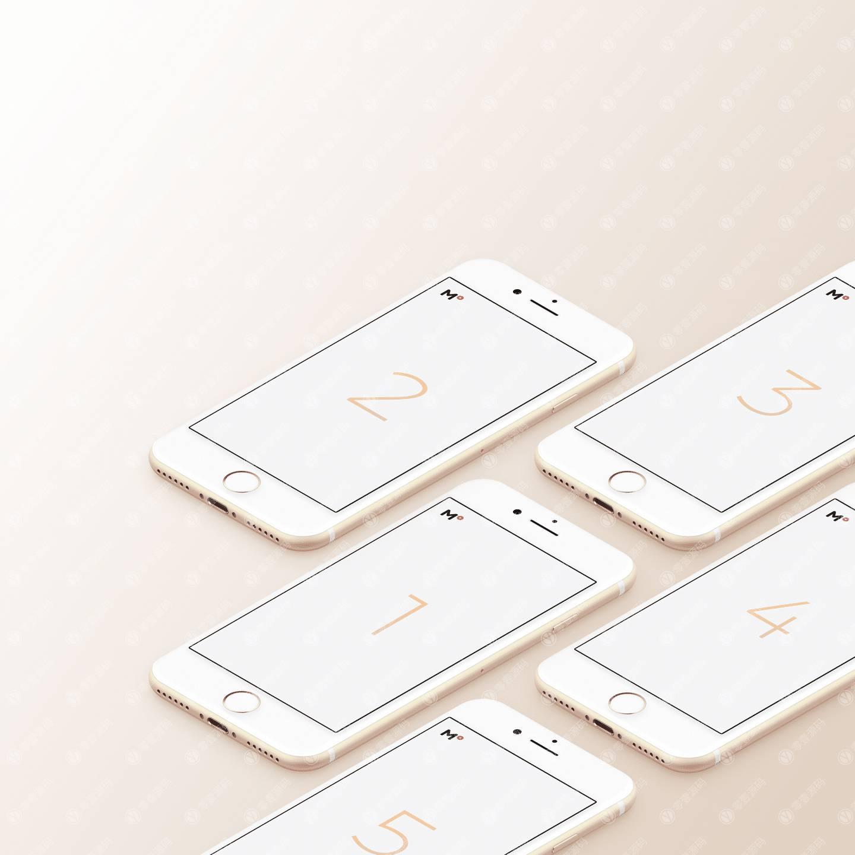 iPhone样机5台组合错落展示
